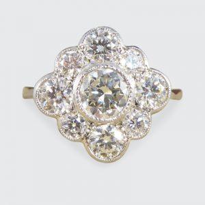 Contemporary 1.52ct Diamond Kite Cluster Ring