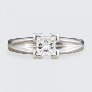 Contemporary Princess Cut 0.45ct Diamond Solitaire Platinum Ring