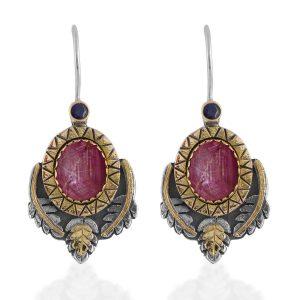 Brielle Star Ruby Sapphire Earrings