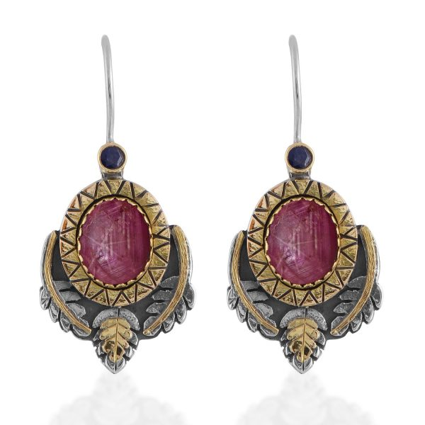 Brielle Star Ruby Sapphire Earrings