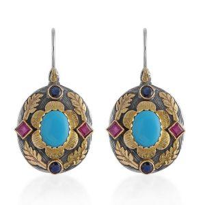 Ishana Turquoise Ruby Sapphire Drop Earrings