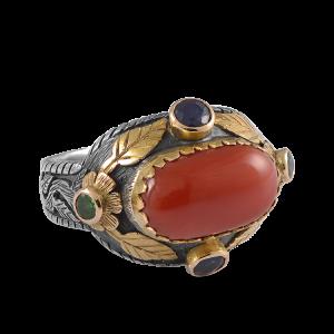 Leah Coral Sapphire Tsavorite Ring