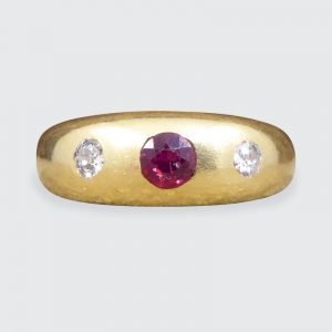 Edwardian Antique Ruby and Diamond Gypsy Set Band Ring