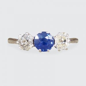 Edwardian Antique Sapphire and Old Cut Diamond Three Stone Ring