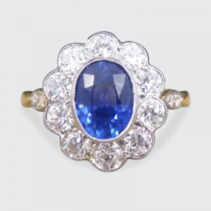 Edwardian Style 1.25ct Sapphire and Diamond Cluster Ring