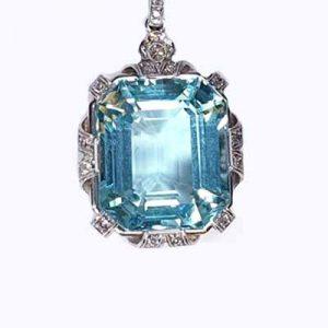 Antique Aquamarine and Diamond Pendant in Platinum, 22.50 carats