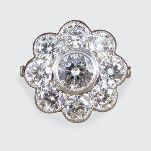 Modern 2.10ct Diamond Daisy Cluster Platinum Ring
