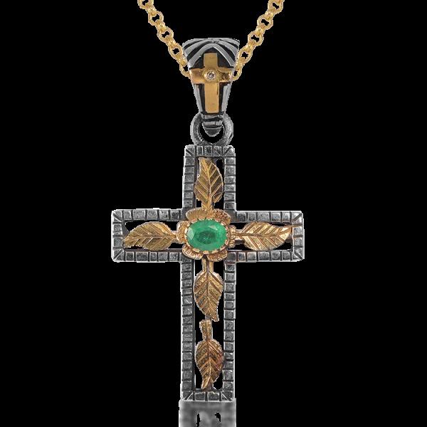 Lucia Emerald Gold Cross