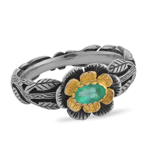 Emerald Flower Ring
