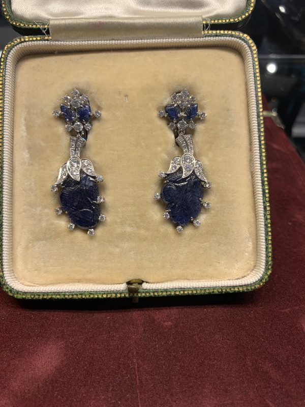 Vintage 20ct Carved Sapphire Diamond and Platinum Drop Earrings, Circa 1940s