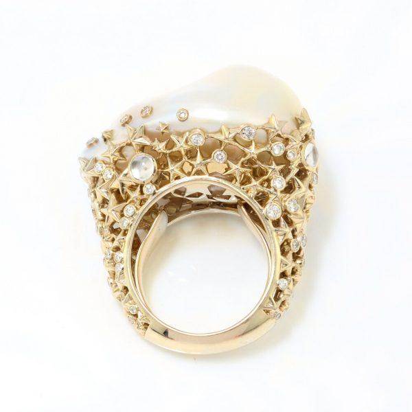 Bibi Van Der Velden Starry Night Pearl Moonstone Diamond in 18ct Yellow Gold