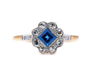 Vintage Princess Cut Sapphire and Diamond Flower Cluster Ring