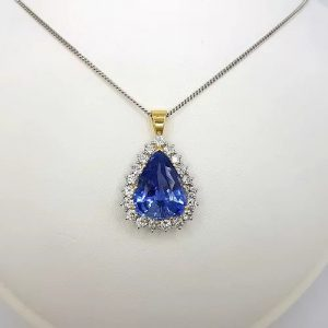 Natural Sapphire and Diamond Pear Cluster Pendant with Certificate, 8cts