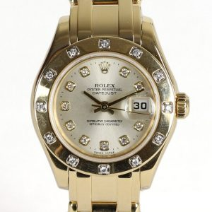 Rolex Lady Pearl Master 18ct Yellow Gold Watch with Diamond Bezel