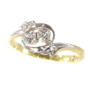 Antique Edwardian Diamond Cross Over Engagement Ring