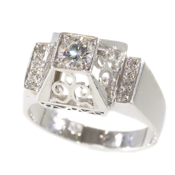 Unusual Vintage Fifties Platinum Diamond Engagement Ring