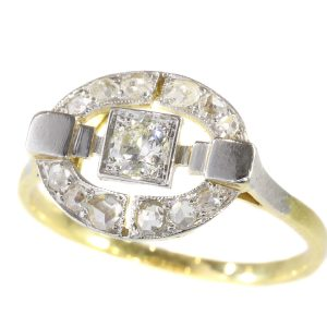 Antique Art Deco Diamond Ring in Two Tone Gold