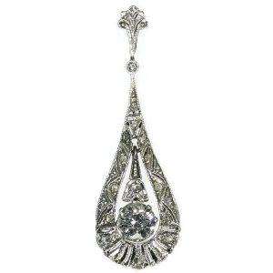 Antique Edwardian Old European Cut Diamond Drop Pendant