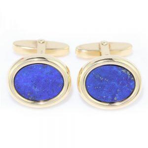 Mappin and Webb Lapis Lazuli 18ct Yellow Gold Cufflinks in Box