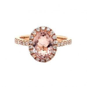 Morganite and Diamond Oval Cluster Ring in 18ct Rose Gold, 2.54 carats