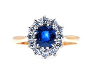 Vintage Cushion Cut Sapphire and Diamond Cluster Ring, 0.70 carats