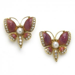 Pink Enamel, Diamond and Pearl Butterfly Earrings