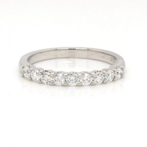 Diamond and Platinum Nine Stone Half Eternity Ring, 0.50 carats