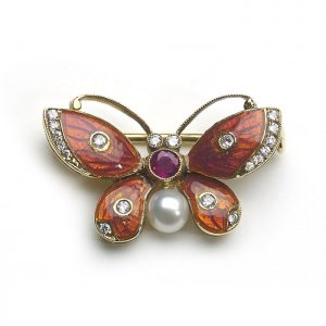 Dark Pink Enamel Butterfly Brooch with Diamonds, Ruby and Pearl