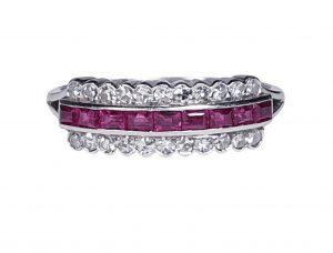 Art Deco Ruby and Diamond Half Hoop Eternity Ring in Platinum