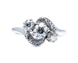 Antique Edwardian Old Cut Diamond Three Stone Twist Ring