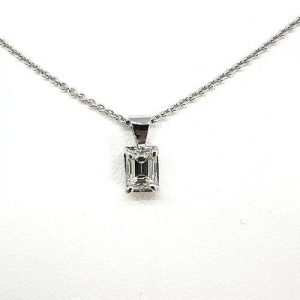 Emerald Cut Diamond Pendant in 18ct White Gold, 0.53 carats