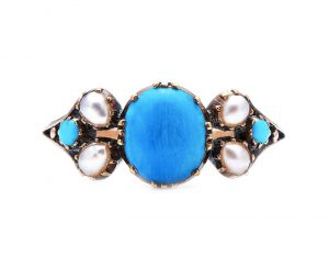 Antique Early Georgian Natural Turquoise and Pearl Ring in 15ct Gold