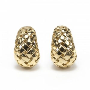 "Tiffany and Co Vannerie 18ct Yellow Gold Earrings; pair of vintage Tiffany & Co. gold ""Vannerie"" earrings, domed lattice design, with post and clip fittings. Stamped T & Co., 1989"