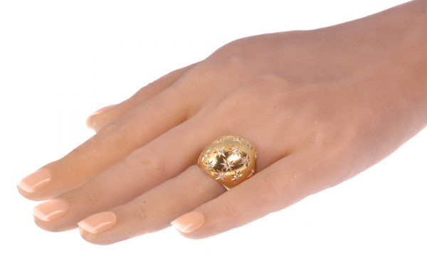 Vintage High Domed Gold Ring with Diamonds by Casetti