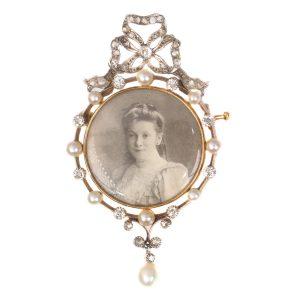Antique Belle Epoque Diamond and Pearl Portrait Brooch