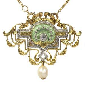 Antique Belle Epoque Rose Cut Diamond and Enamel Pendant Brooch on Chain