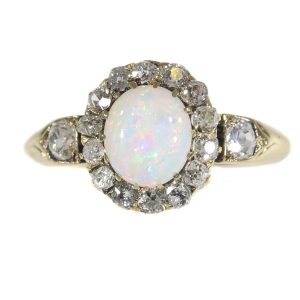 Antique Victorian Cabochon Opal and Diamond Cluster Ring