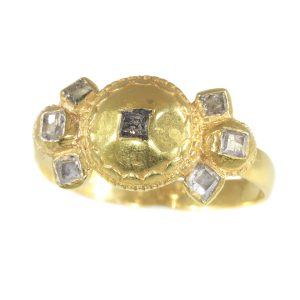 Antique 17th Century Baroque Diamond Set Gold Ring