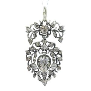 Antique Flemish Rose Cut Diamond Heart Pendant Circa 1700