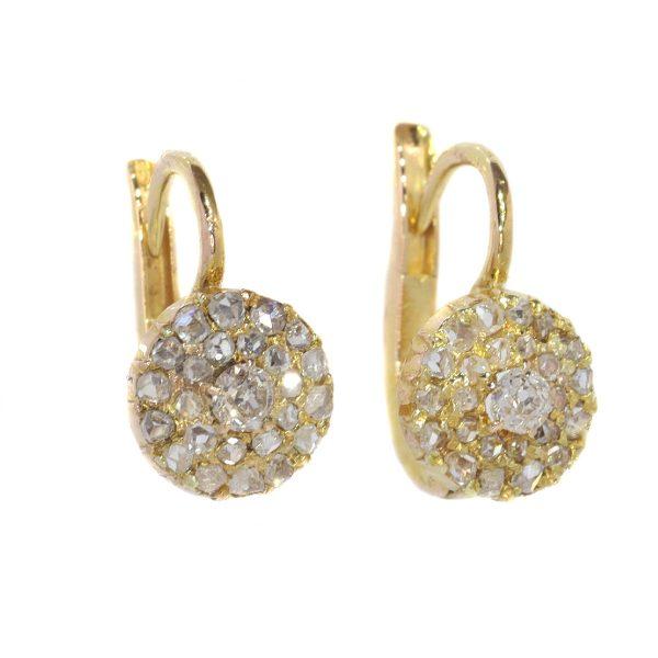 Antique Victorian Old Mine Cut Diamond Cluster Drop Earrings