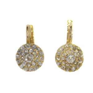 Antique Victorian Old Mine Cut Diamond Cluster Drop Earrings
