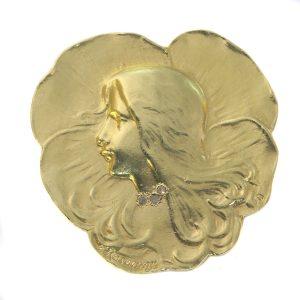 Antique Art Nouveau Lady's Head Brooch Signed Rasumny