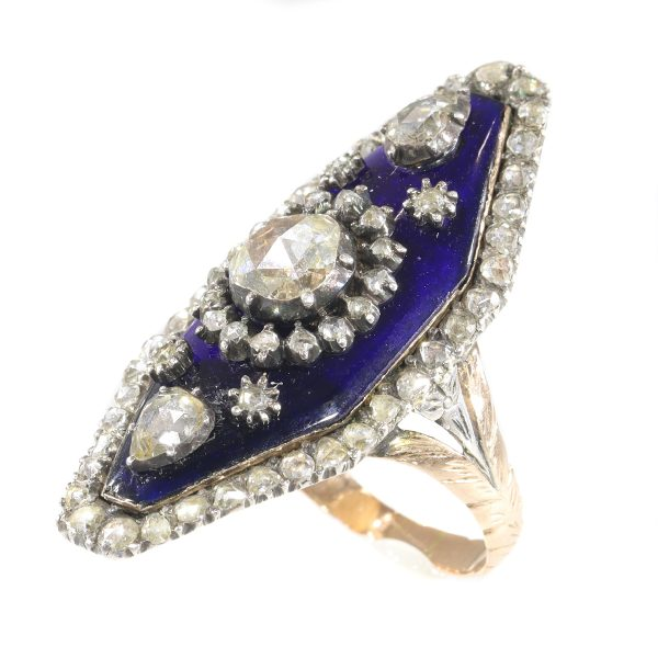 Antique Victorian Rose Cut Diamond and Enamel Ring