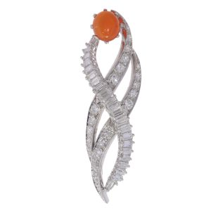 Vintage 1960's Burning Flame Pendant with Fire Opal and Diamonds