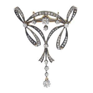Elegant Antique Belle Epoque Diamond Pendant Brooch