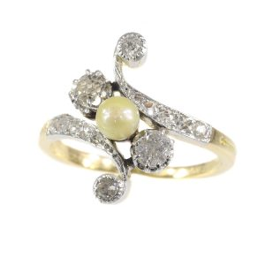 Antique Belle Epoque Diamond and Pearl Cross Over Ring