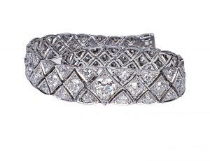Art Deco Articulated Old Cut Diamond Bracelet in Platinum, 8.50 carat total