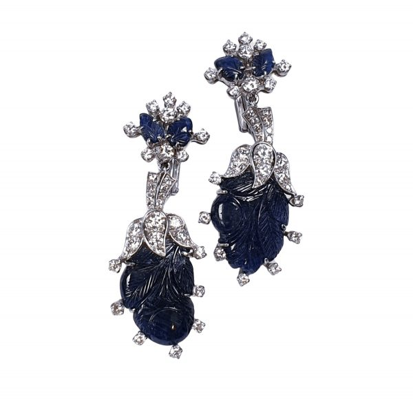 Vintage Carved Sapphire Diamond Platinum Drop Earrings; featuring over 20 carats of wonderfully carved sapphires accented with brilliant-cut diamonds, Circa 1940s