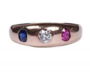 Antique Victorian Diamond, Sapphire and Ruby Three Stone Ring