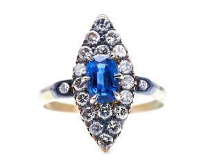 Antique Edwardian Sapphire and Diamond Navette Cluster Ring
